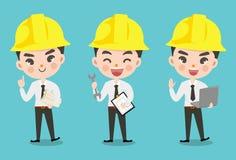 Ingenieursjongen in velen actie royalty-vrije illustratie