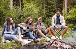 Ingenio de los adolescentes una guitarra que acampa en bosque Imagen de archivo