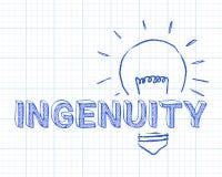 Ingeniosidad en papel cuadriculado de la bombilla Imágenes de archivo libres de regalías