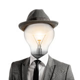 Ingenious head. Man with a light bulb as head. Ingenious head concept Stock Photography