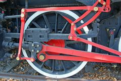 Ingenious mechanism at locomotive wheels Stock Photos