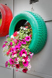 Ingenious, original and environmentally friendly recycling. Ingenious, original and environmentally friendly method of recycling of tires car stock photography