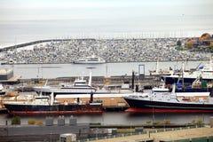 Ingepakte jachthaven & vissersvaartuigen, Seattle WA. Stock Fotografie