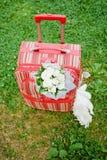 Ingepakte koffer voor wittebroodsweken Stock Fotografie