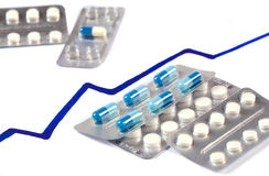 Ingepakte tabletten en grafiek van tarieven Royalty-vrije Stock Afbeeldingen