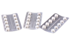 Ingepakte witte tabletten Stock Foto's