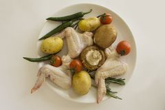 Ingerdients dla europejczyka piec kurczaków skrzydła od above Zdjęcia Stock