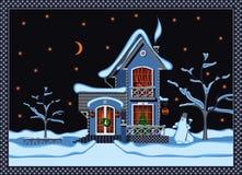 Ingesneeuwd huis stock illustratie