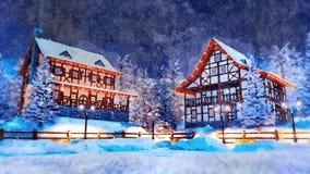 Ingesneeuwde Europese stad bij de waterverf van de de winternacht royalty-vrije stock foto