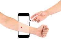 Ingespoten die in het lichaam Telefoons op een witte achtergrond worden geïsoleerd A royalty-vrije stock afbeeldingen