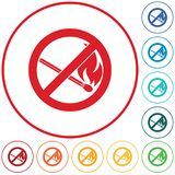 Inget avfyra undertecknar Symbol för öppen flamma för förbud vektor illustrationer