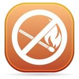 Inget avfyra undertecknar Symbol för öppen flamma för förbud royaltyfri illustrationer