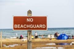 Inget Beachguard tecken Arkivbilder