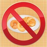 Inget bröd - fri symbolsillustration för gluten Royaltyfria Bilder
