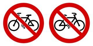 Inget cykel/tillåtet tecken för cyklar inte Den svarta cykeln undertecknar in rött c royaltyfri illustrationer