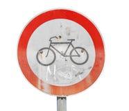 Inget cykla vägmärke som isoleras på vit Arkivbild