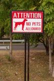 Inget djurt tillåtet tecken Royaltyfria Foton