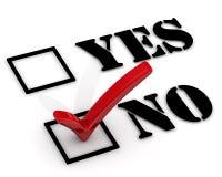 inget frågeformulär ja Negativt val Arkivfoton