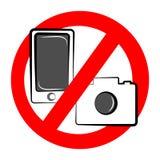Inget kamera- och mobilsymbol på vit bakgrund också vektor för coreldrawillustration royaltyfri bild