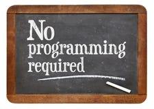 Inget krävt programmera - svart tavlatecken arkivfoto
