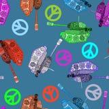 Inget krig, sömlös modell hippiebakgrund för översiktsfred för hand insida isolerad värld för white för shake stock illustrationer