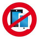 Inget mobiltelefonsymbol på vit bakgrund Royaltyfria Bilder