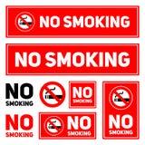 Inget - när du röker etikettuppsättningen på en vit bakgrund isolerade illustrationen eps10 Royaltyfri Fotografi