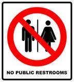Inget offentligt toalettsymbol Gör pooping det inte och peeing folktecknet Ingen WC Rött baner för varning för det fria och skoga Royaltyfri Foto
