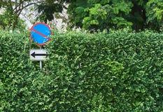 Inget parkeringstecken på trädväggbakgrunden Arkivfoton