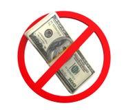 Inget pengarsymbol Arkivbild