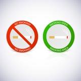 Inget - röka och röka områdesetiketter Royaltyfri Bild