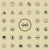 Inget - röka teckensymbolen Uppsättning för symboler för varningstecken universell för rengöringsduk och mobil stock illustrationer