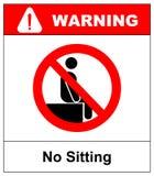Inget sammanträde Sitt inte på yttersida, förbudtecknet, vektorillustration på vit förbjudet symbol varning stock illustrationer