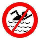 Inget simningsymbol Arkivfoto