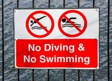 Inget simningtecken Arkivbilder