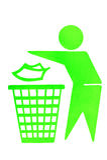 Inget skräpa nertecken av trashcan Arkivbild