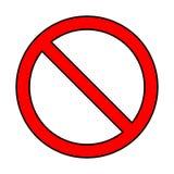 Inget tecken, förbudsymboldesign som isoleras på vit bakgrund royaltyfri illustrationer