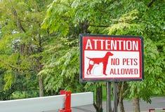 Inget tillåtet tecken för husdjur på porten i parkera Arkivbilder