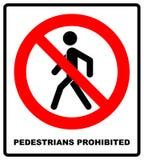Inget tillträde för gångareförbudtecknet, illustration Rött förbjudit varningssymbol som isoleras på vit Svart simpl arkivbilder