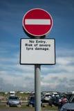 Inget tillträdestecken med engelsk text Royaltyfri Bild