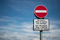 Inget tillträdestecken med walesisk text Fotografering för Bildbyråer