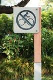 Inget utomhus- cykeltecken fotografering för bildbyråer