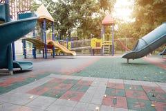 Inget utomhus- playpark i slut av sommar arkivbilder