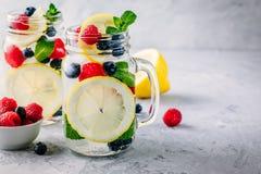 Ingett detoxvatten med det citronskivan, hallonet, blåbäret och mintkaramellen Iskall sommarcoctail eller lemonad i murarekrus Royaltyfria Bilder