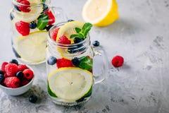 Ingett detoxvatten med det citronskivan, hallonet, blåbäret och mintkaramellen Iskall sommarcoctail eller lemonad i murarekrus Royaltyfria Foton