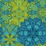 Ingewikkeld Blauw en Geel Bloempatroon royalty-vrije illustratie