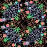 Ingewikkeld die cirkelspatroon aan lijnen multicolored op zwarte wordt verbonden Stock Afbeelding