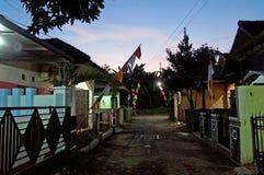 Ingezeten huizengebied over nacht Royalty-vrije Stock Foto's