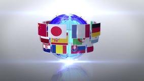 Ingezetenenvlaggen die rond aarde draaien stock illustratie