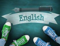 Inglés contra la pizarra verde fotografía de archivo